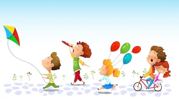 Niños corriendo, amistad