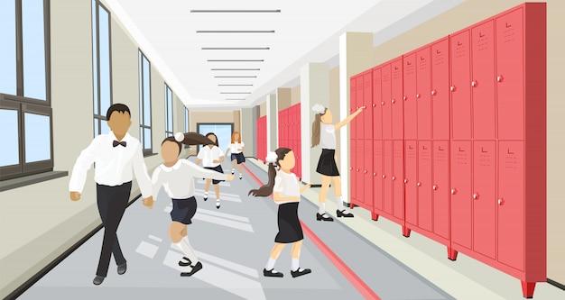 Niños corriendo en el pasillo de la escuela de estilo plano. concepto de regreso a la escuela