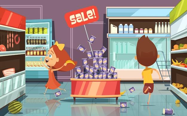 Niños corriendo en una tienda con desorden de comida y bebidas ilustración vectorial de dibujos animados