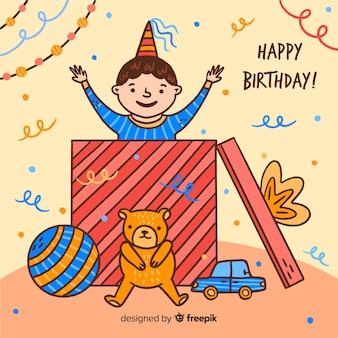 Niños de cumpleaños dibujados a mano
