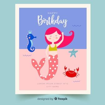 Niños de cumpleaños en diseño plano