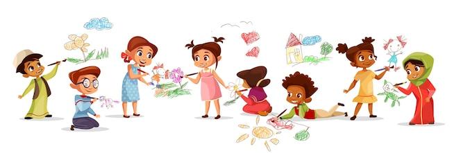 Niños de diferentes nacionalidades dibujando dibujos con lápices de tiza ilustración