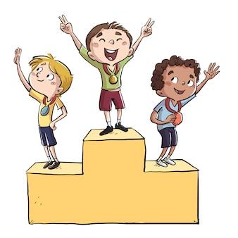 Niños deportivos en un podio