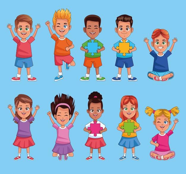 Niños del día mundial del autismo con piezas de rompecabezas, diseño de ilustraciones vectoriales