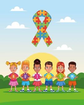 Niños del día mundial del autismo con rompecabezas de cinta en diseño de ilustración vectorial de paisaje