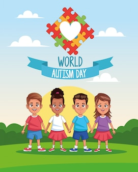 Niños del día mundial del autismo con rompecabezas de corazón en diseño de ilustración vectorial de paisaje