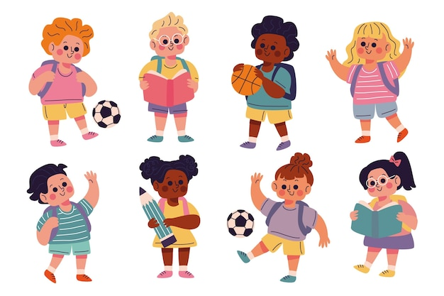 Niños dibujados a mano colección de regreso a la escuela
