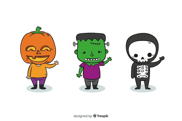 Niños dibujados a mano disfrazados de monstruos para halloween