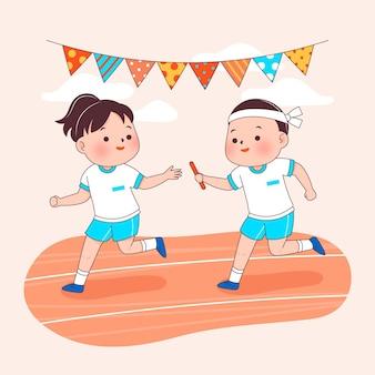 Niños dibujados a mano jugando festival japonés de deporte sobreviviente