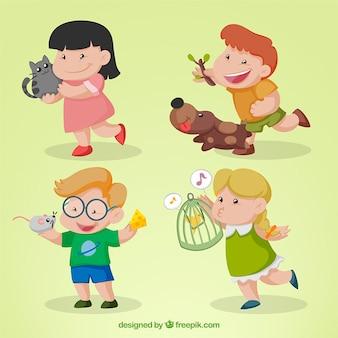 Niños dibujados a mano jugando con sus mascotas