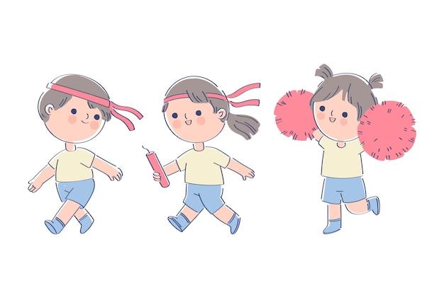 Niños dibujados a mano jugando en undoukai