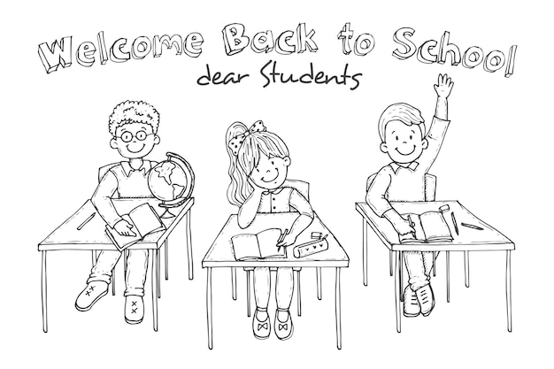 Niños dibujados a mano de regreso a la escuela