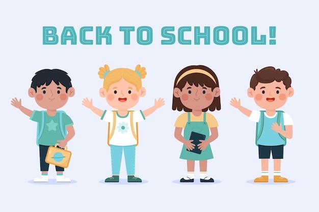 Niños dibujados de regreso a la escuela