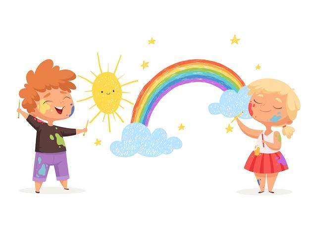 Los niños dibujan arco iris. pequeños artistas felices pintando nubes de sol para niños divertidos.