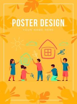 Niños dibujando a casa con crayones plantilla de póster