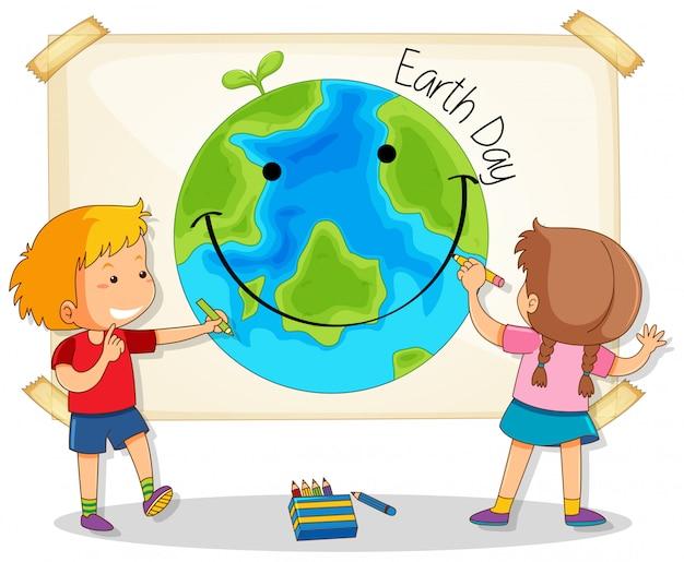 Niños dibujando dia de la tierra