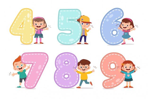 Niños de dibujos animados con 123 números.