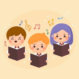 Niños de dibujos animados cantando en un coro