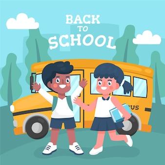Niños de dibujos animados a concepto de escuela
