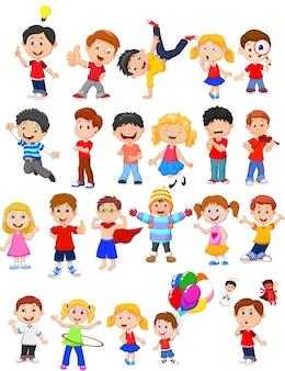Niños de dibujos animados con diferente pose y expresión