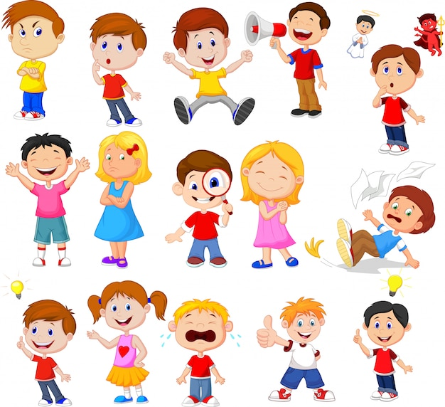 Niños de dibujos animados con expresión diferente