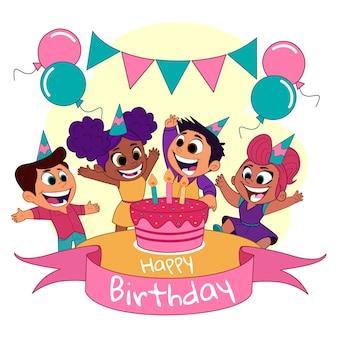 Niños de dibujos animados en una fiesta de cumpleaños