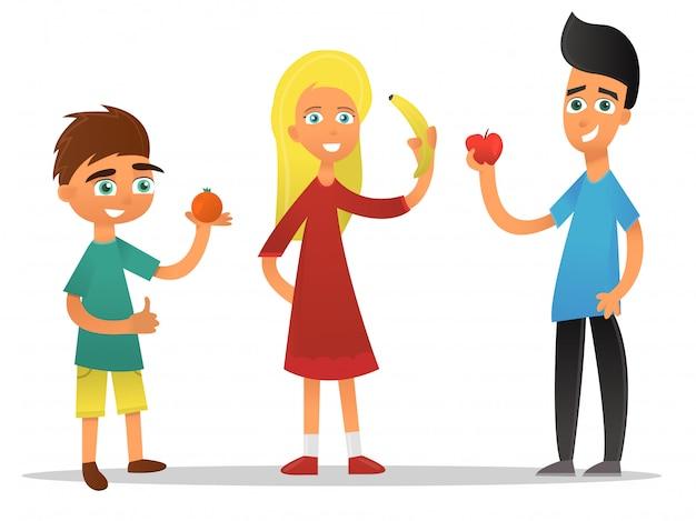 Niños de dibujos animados con frutas sobre fondo blanco.
