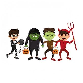 Niños y dibujos animados de halloween