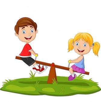 Niños de dibujos animados jugando en balancín en el parque
