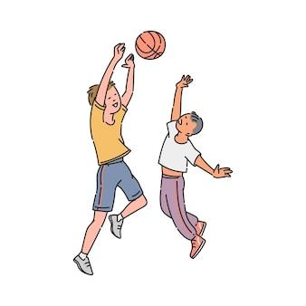 Niños de dibujos animados jugando baloncesto - dos niños saltando para atrapar una pelota. amigos niños felices haciendo deporte de equipo - ilustración