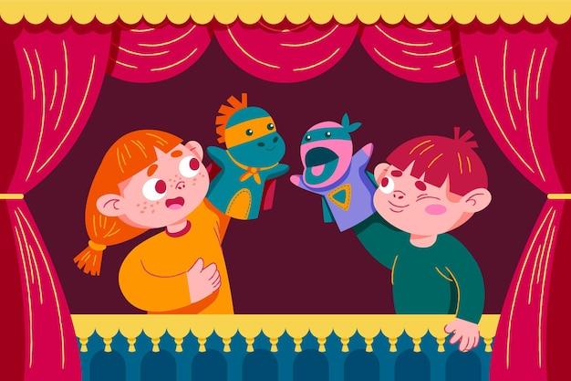 Niños de dibujos animados jugando con marionetas de mano