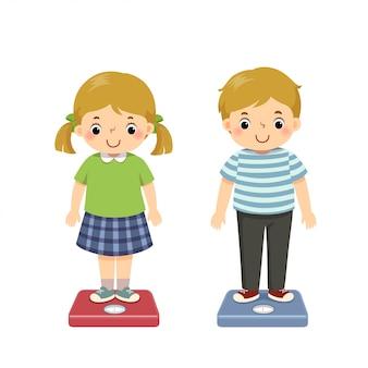 Niños de dibujos animados lindo de ilustración vectorial comprobando su peso en la balanza.