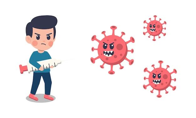 Niños de dibujos animados luchando contra el virus corona.