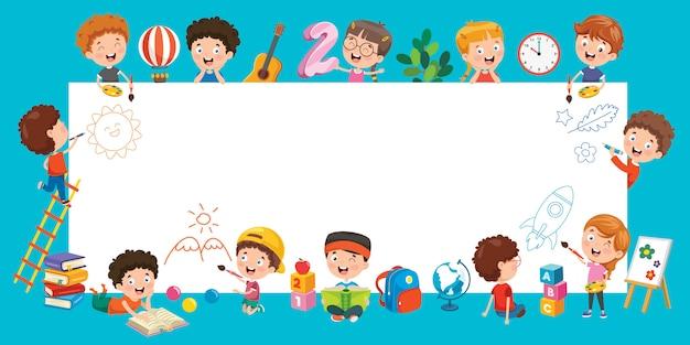 Niños de dibujos animados con un marco