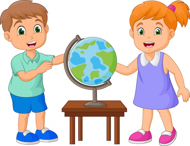 Niños de dibujos animados mirando el globo sobre la mesa