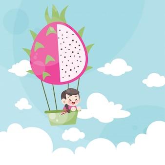 Niños de dibujos animados montando un globo aerostático fruta de dragón
