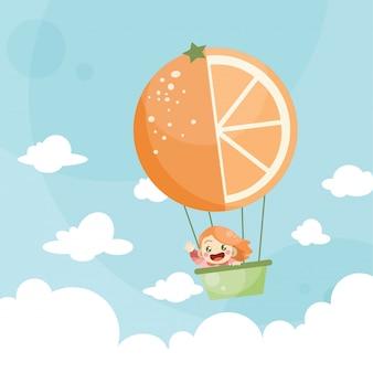 Niños de dibujos animados montando un globo aerostático naranja
