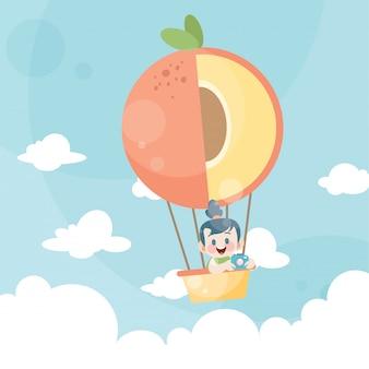 Niños de dibujos animados montando un globo de aire caliente melocotón