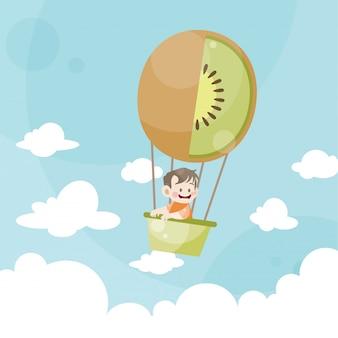 Niños de dibujos animados montando un kiwi de globo de aire caliente