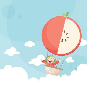Niños de dibujos animados montando una manzana globo de aire caliente