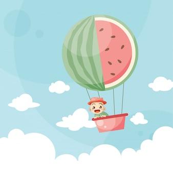 Niños de dibujos animados montando una sandía globo de aire caliente