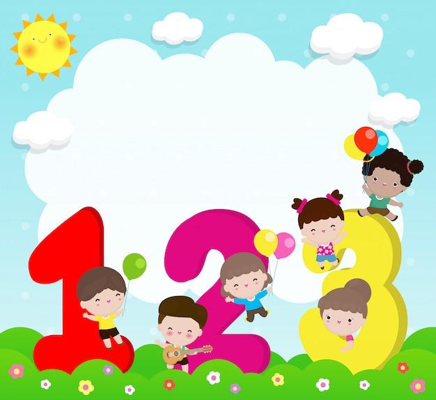 Niños de dibujos animados con números, niños con números, ilustración vectorial de fondo