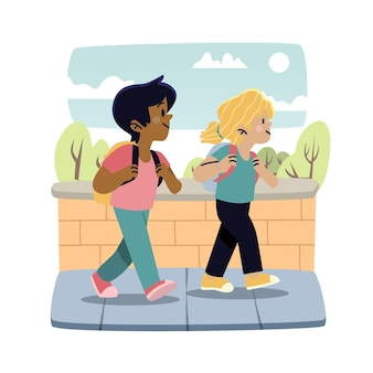 Niños de dibujos animados de regreso a la escuela