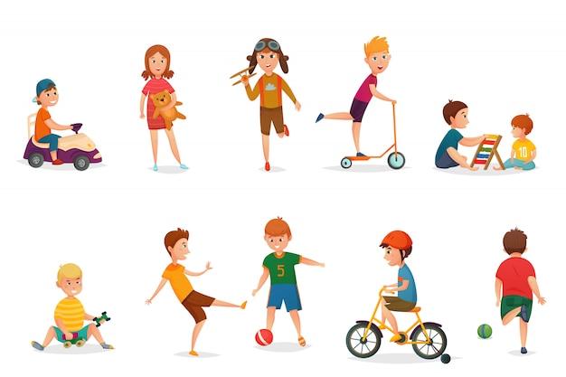 Niños de dibujos animados retro jugando conjunto de iconos