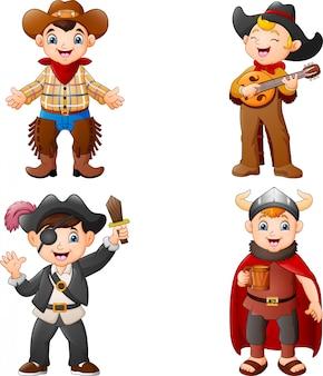 Niños de dibujos animados con un traje diferente