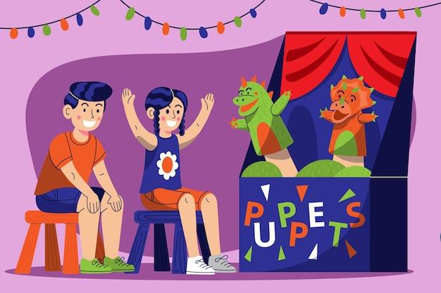 Niños de dibujos animados viendo un espectáculo de marionetas
