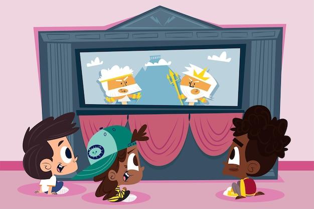 Niños de dibujos animados viendo espectáculo de marionetas