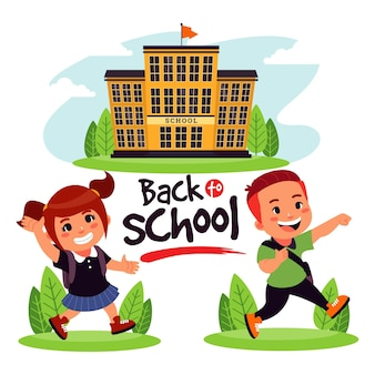 Niños de dibujos animados volviendo a la escuela