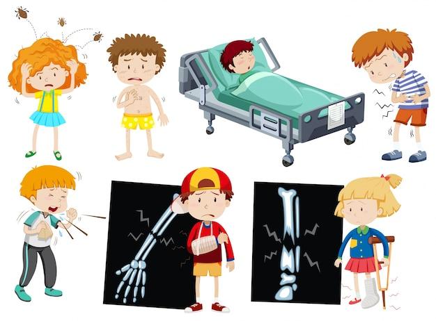 Niños, diferente, enfermedad, ilustración