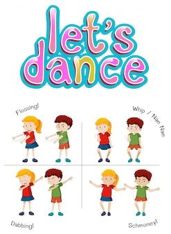 Niños con diferente movimiento de baile.